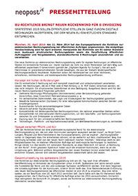 EU-Richtlinie bringt neuen Rückenwind für E-Invoicing