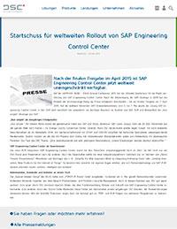 Startschuss für weltweiten Rollout von SAP Engineering Control Center